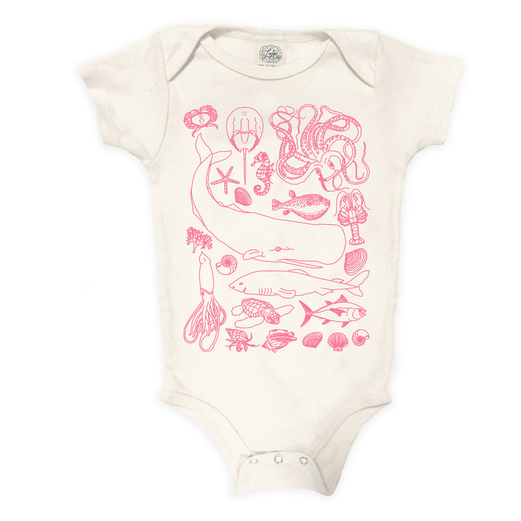 """sea life"" organic cotton baby bodysuit in rose"