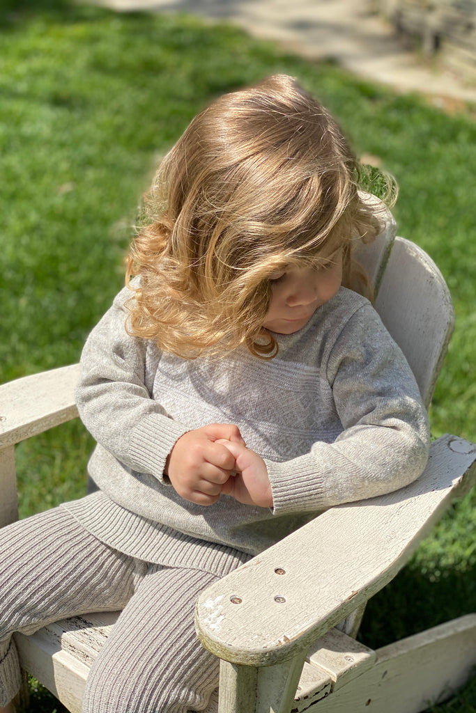 loop collection sustainable knit baby sweater made in usa from eco-friendly recycled cotton yarn