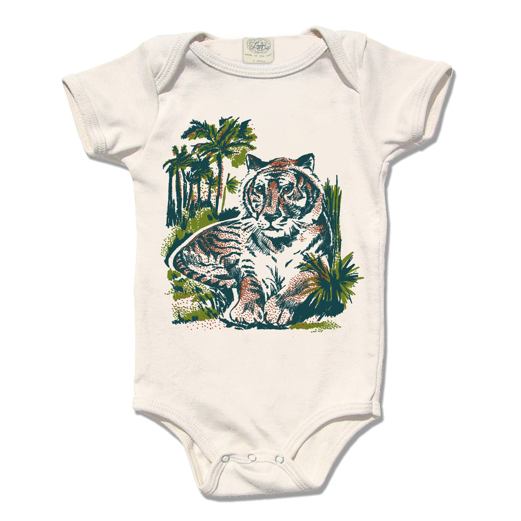 tiger zoo jungle africa baby boy girl infant shower gift organic cotton eco sustainable made in USA onesie bodysuit unisex gender neutral hand drawn illustration