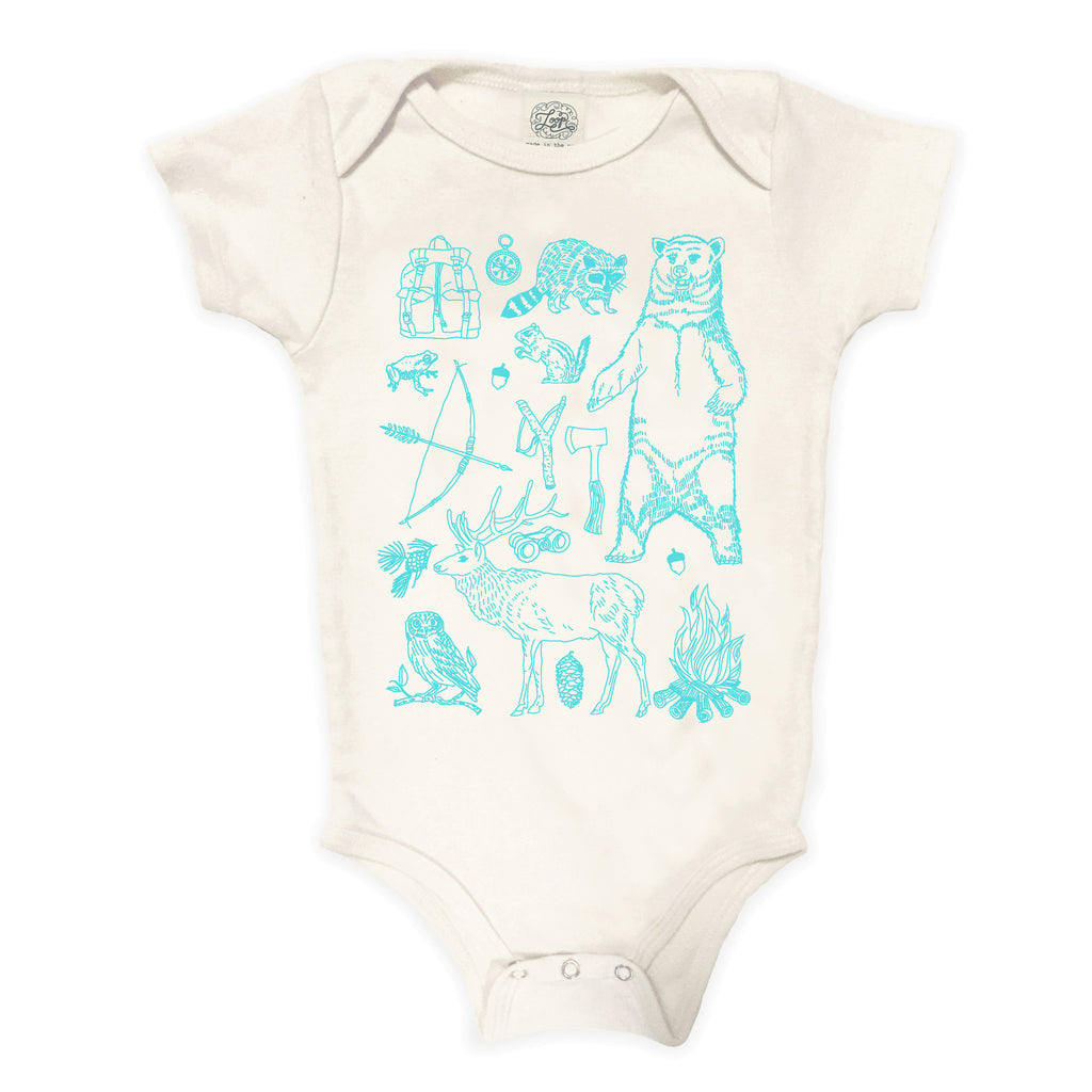 woodland forest woods camping hiking bear aqua blue baby boy girl infant shower gift organic cotton eco sustainable made in USA onesie bodysuit unisex gender neutral hand drawn illustration