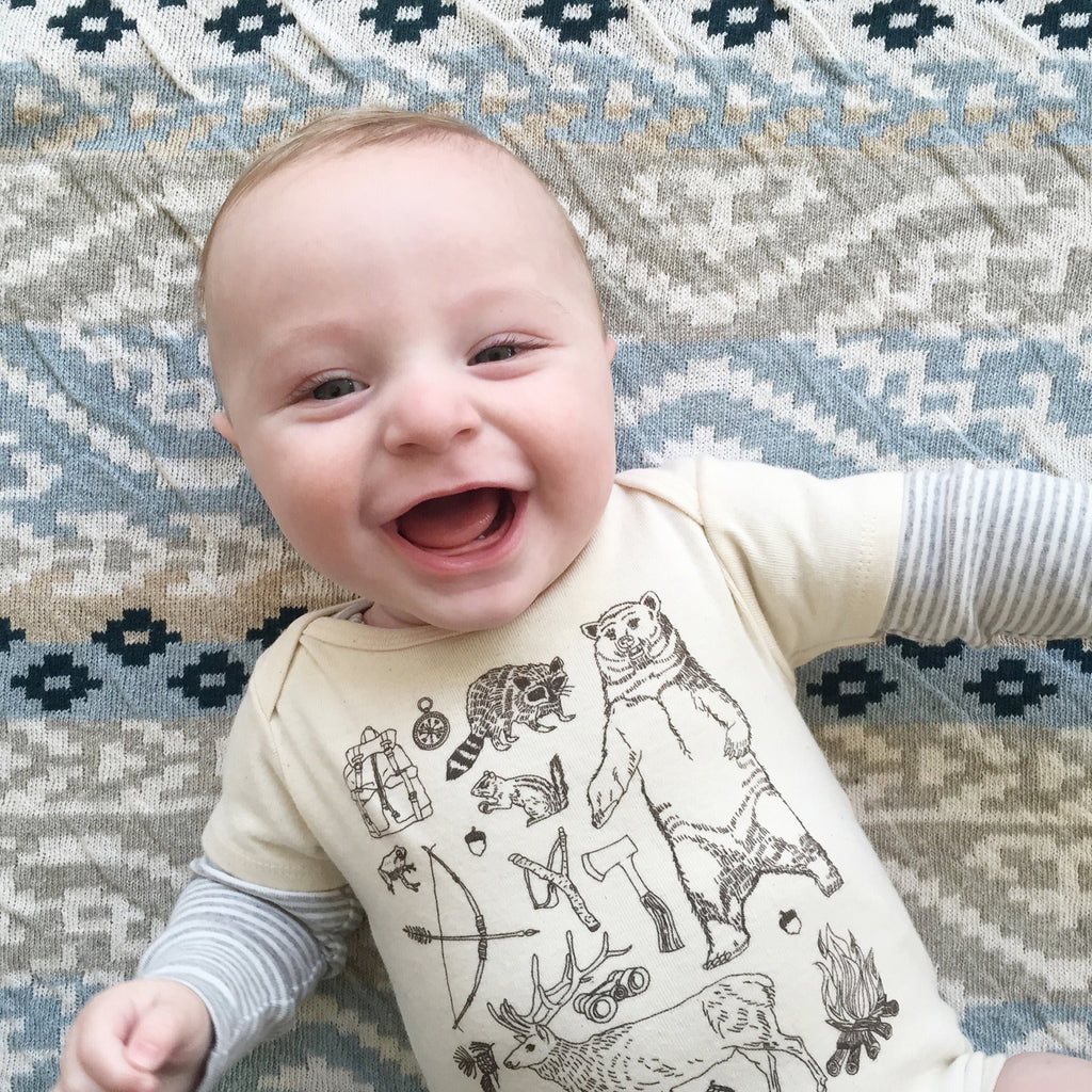 woodland forest woods camping hiking bear brown baby boy girl infant shower gift organic cotton eco sustainable made in USA onesie bodysuit unisex gender neutral hand drawn illustration