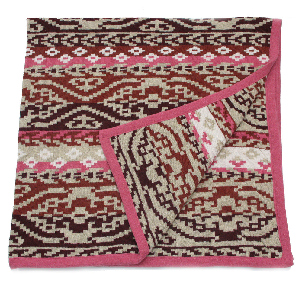 navaho aztec diamond geometric burgundy pink southwest desert arizona texas baby boy girl infant shower gift recycled cotton eco sustainable made in USA layette blanket crib stroller carriage nursery decor unisex gender neutral hand knit cozy soft