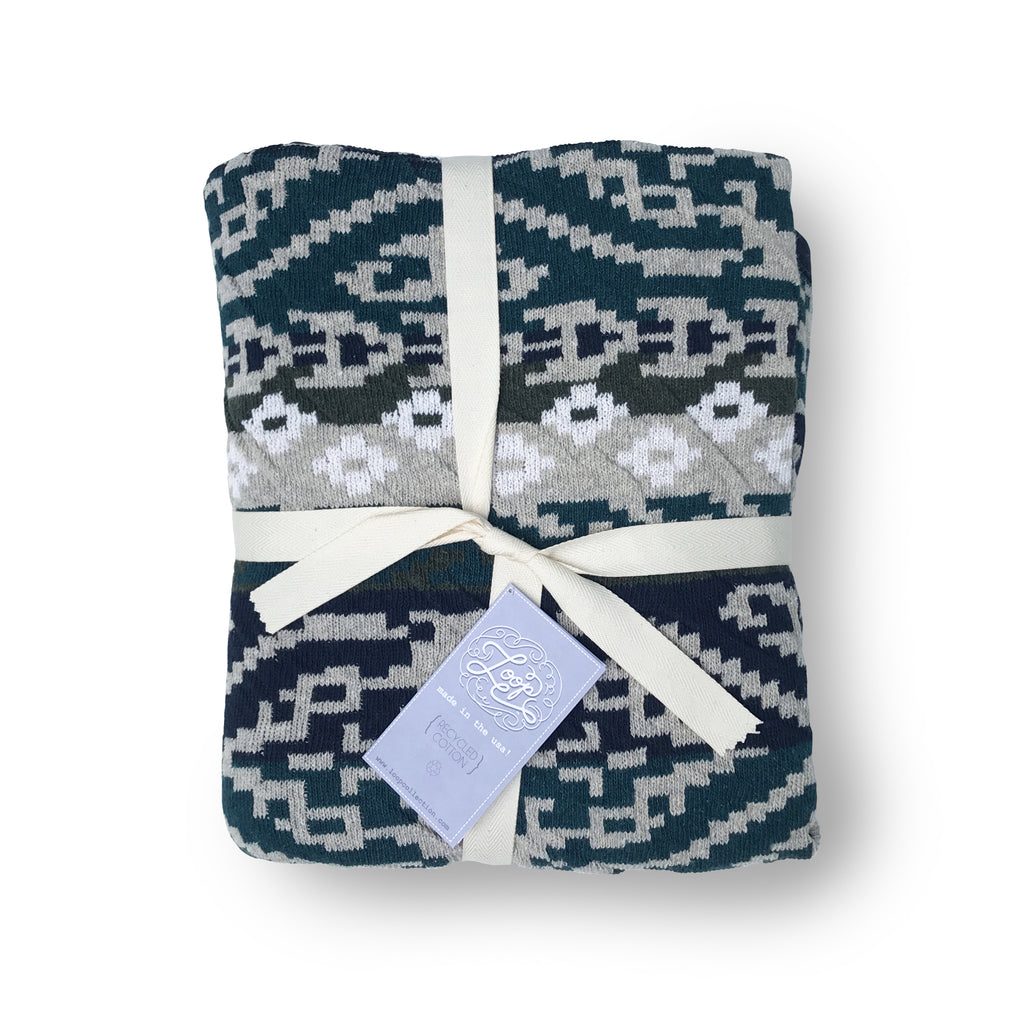 navaho aztec diamond geometric navy pine southwest desert arizona texas baby boy girl infant shower gift recycled cotton eco sustainable made in USA layette blanket crib stroller carriage nursery decor unisex gender neutral hand knit cozy soft