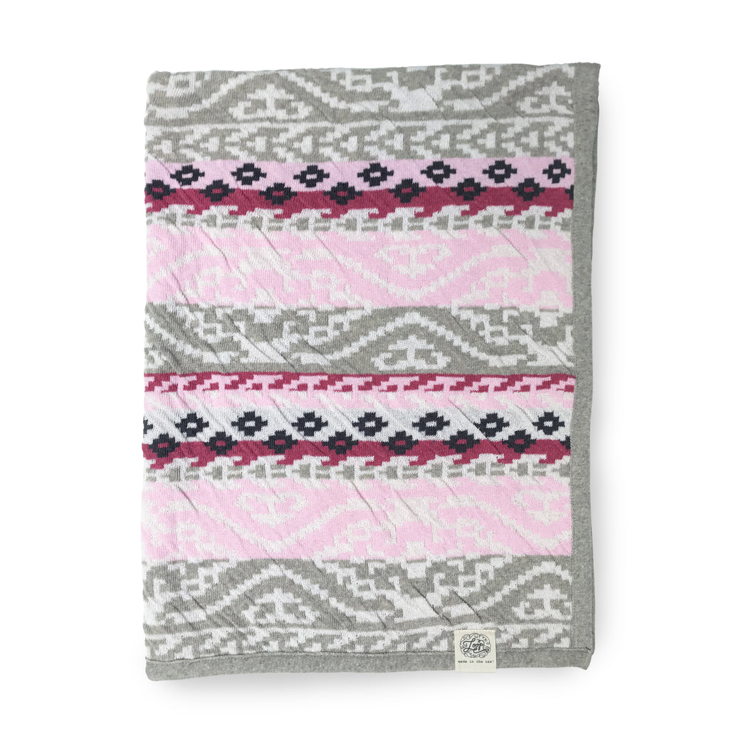 navaho aztec diamond geometric pink southwest desert arizona texas baby boy girl infant shower gift recycled cotton eco sustainable made in USA layette blanket crib stroller carriage nursery decor unisex gender neutral hand knit cozy soft