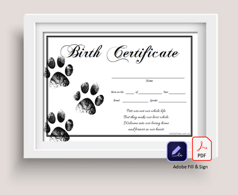 Pet Birth Certificate - (Adobe Fill & Sign)
