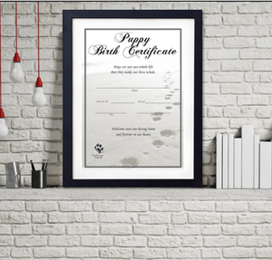 Puppy Birth Certificate - Beach Paw Prints