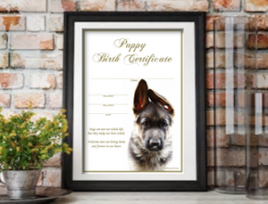 Puppy Birth Certificate - German Shepherd