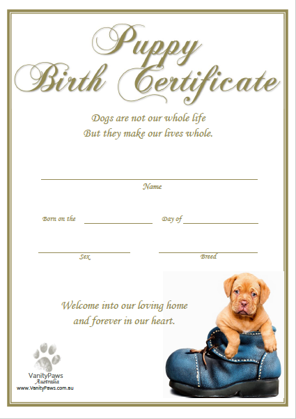 Puppy Birth Certificate - Puppy Blue Shoe