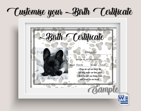 Birth Certificate - Paw Prints