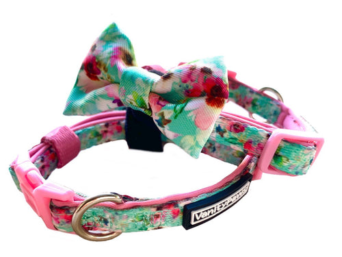 Minty Floral Cat Collar + Removable Bow