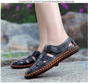 Men Outdoor Leather Sandals - SHOPPLEHUB