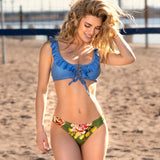Blue and Green Floral Ruffle Bikini Set - SHOPPLEHUB
