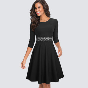Casual Black Tunic Skater Dress - SHOPPLEHUB