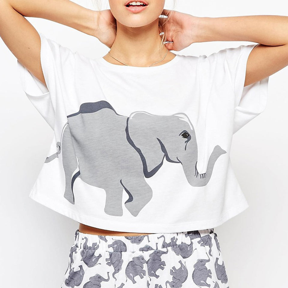 Women's Cute Elephant Print Pajama Set - SHOPPLEHUB