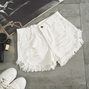 High Waist Ripped Denim Shorts - SHOPPLEHUB