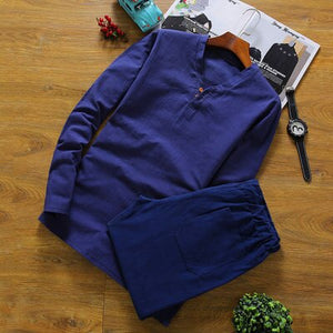Men's Long Sleeve Cotton Pajamas - SHOPPLEHUB