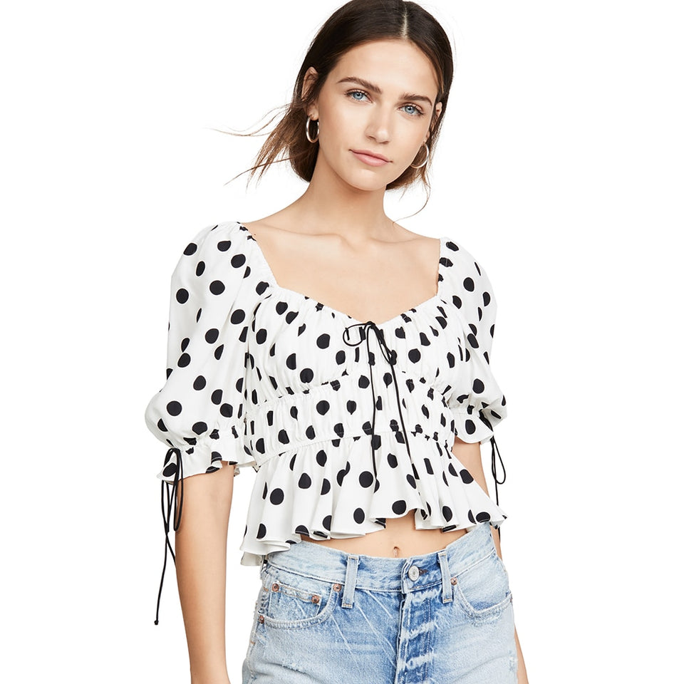 Ruffle Hem Puff Sleeve Polka Dot Print Blouse - SHOPPLEHUB