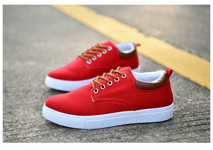 Lace Up Canvas Sneakers - SHOPPLEHUB