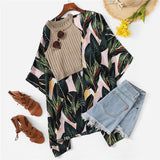 Oversized Tropical Leaf Print Cover-up - SHOPPLEHUB