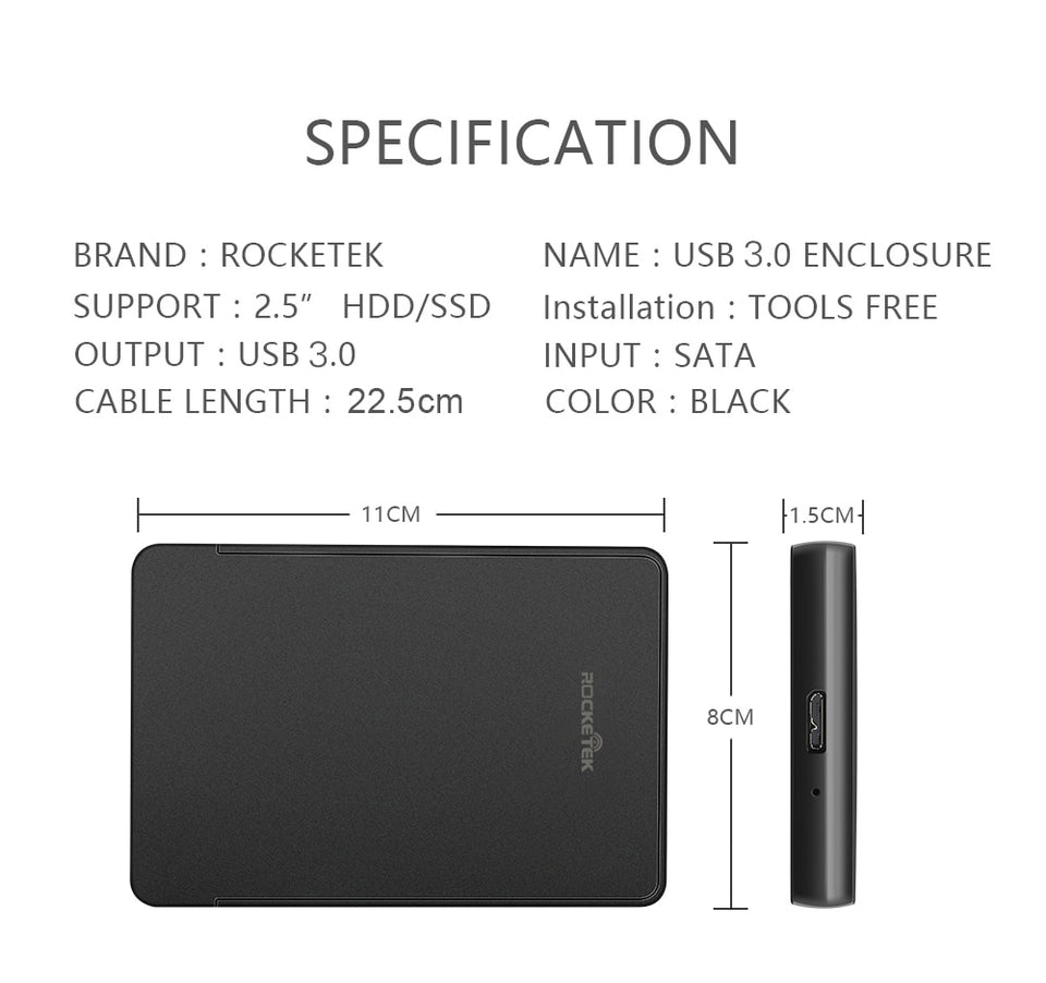 HDD Case 2.5 inch SATA to USB 3.0 SSD Adapter - SHOPPLEHUB