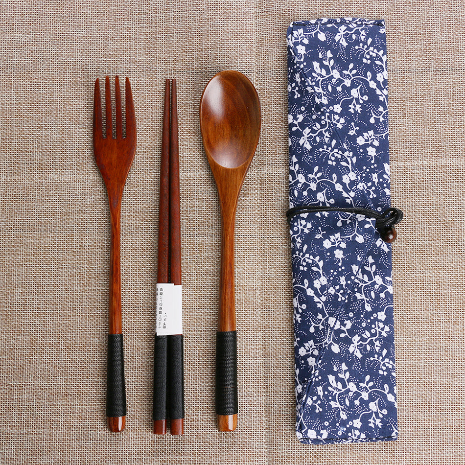 Portable Wooden Tableware Set - SHOPPLEHUB