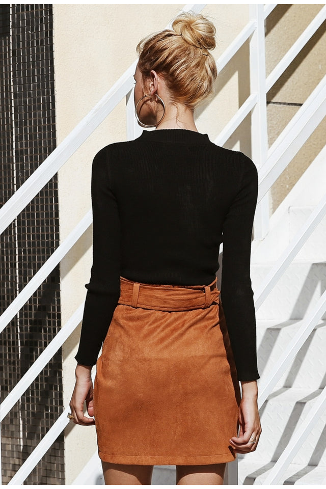 Asymmetric Suede Mini Skirt - SHOPPLEHUB