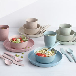 Kids Wheat Straw Tableware Set (4pcs) - SHOPPLEHUB