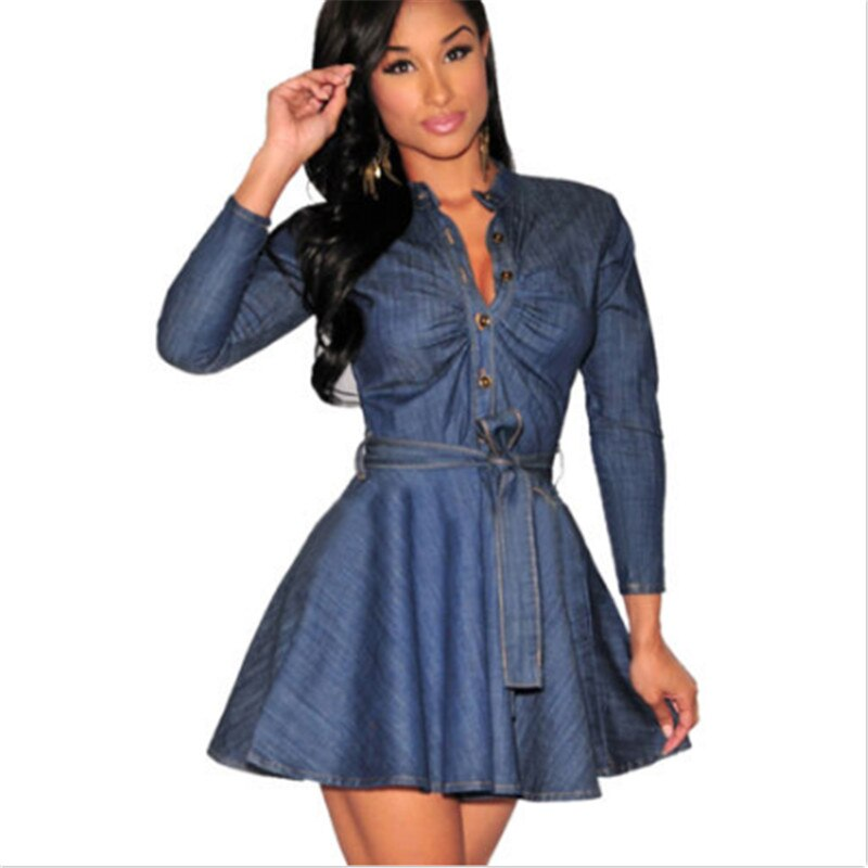 Chic Mini Long Sleeve Denim Dress - SHOPPLEHUB