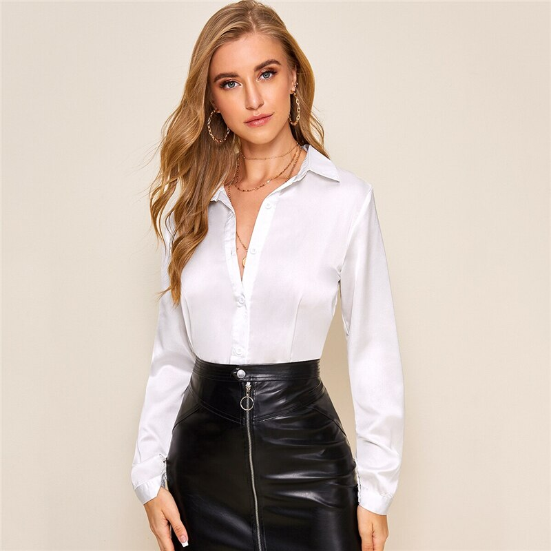 White Solid Button Front Shirt