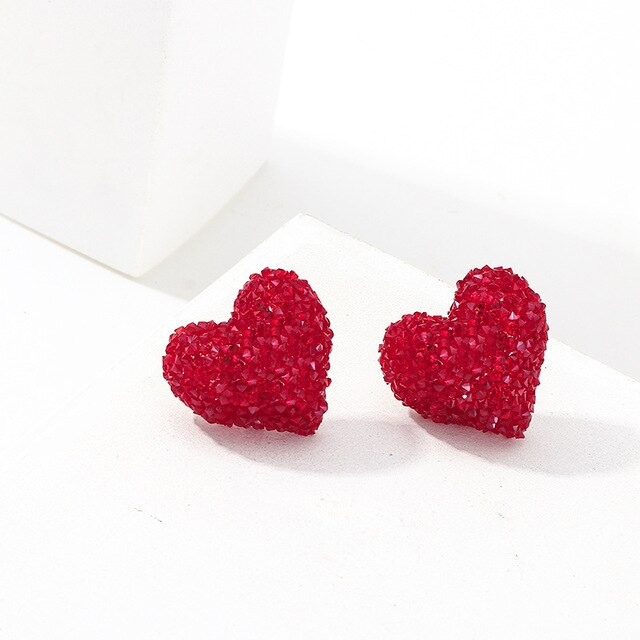 Vintage Glitter Heart Earrings - SHOPPLEHUB