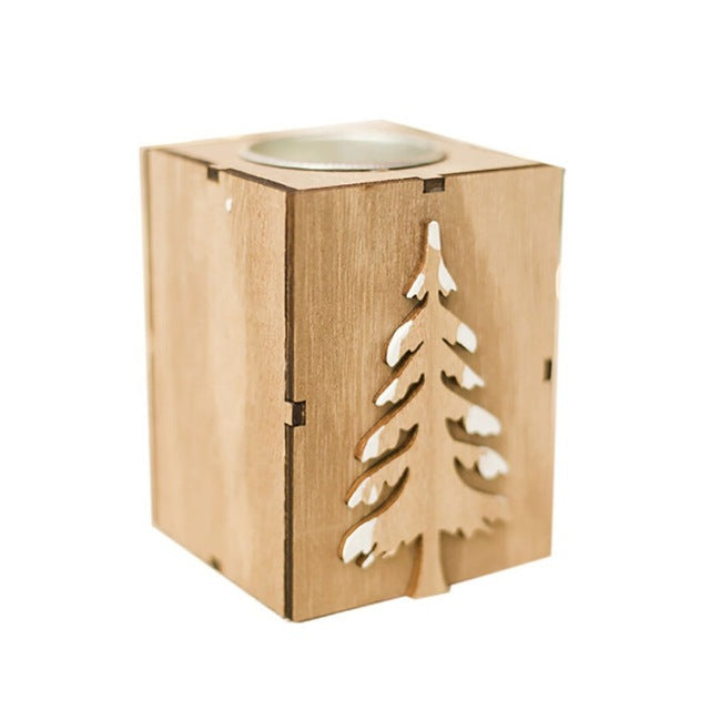 Wooden Candlestick Holder - SHOPPLEHUB