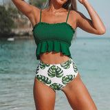 Smocked High-Waisted Swimsuit Set - SHOPPLEHUB