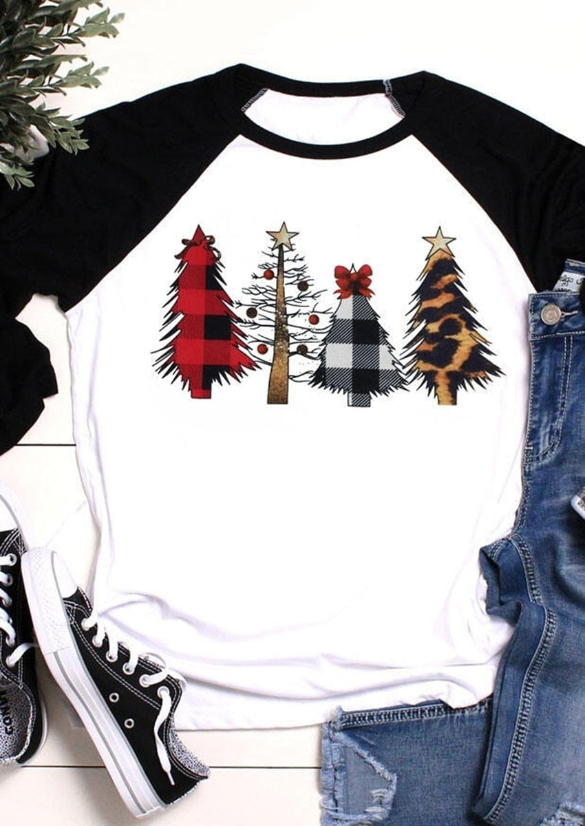 Three Quarter Sleeve Christmas Tee - SHOPPLEHUB