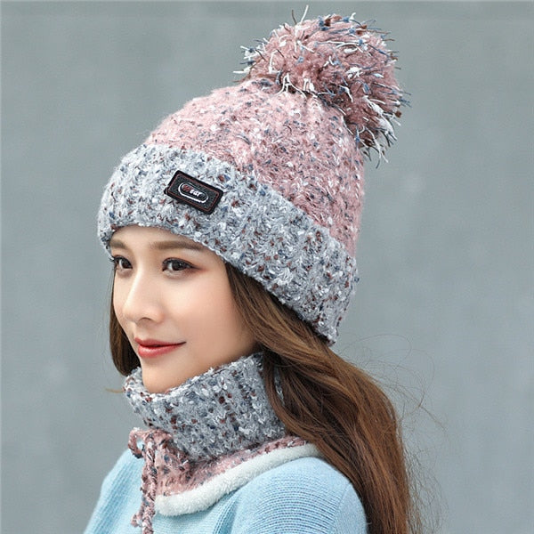 Knitted Winter Beanie x Scarf Set - SHOPPLEHUB