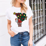 Casual Christmas Printed T-shirt - SHOPPLEHUB