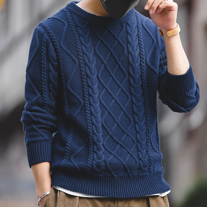 Cable Knitted Pullover Sweater - SHOPPLEHUB