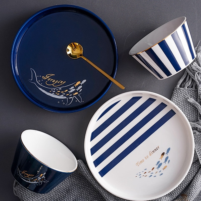 Nordic Ocean Blue Tableware Set - SHOPPLEHUB