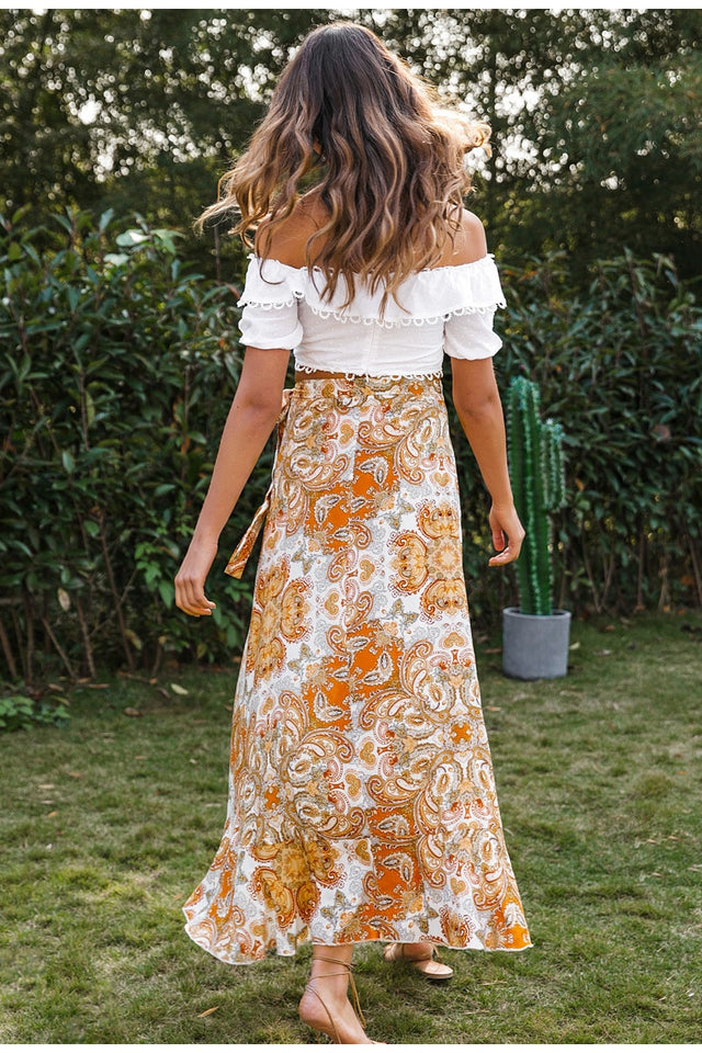 Bohemian Dreams Floral Print Skirt - SHOPPLEHUB
