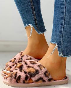 Fluffy Leopard Crisscross Slippers - SHOPPLEHUB