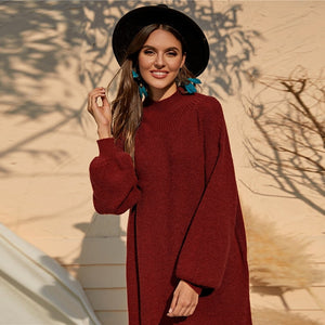 Autumn/Winter Casual Burgundy Tunic Sweater Dress