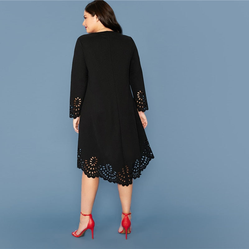 Plus Size Laser Cut Asymmetrical Hem Dress