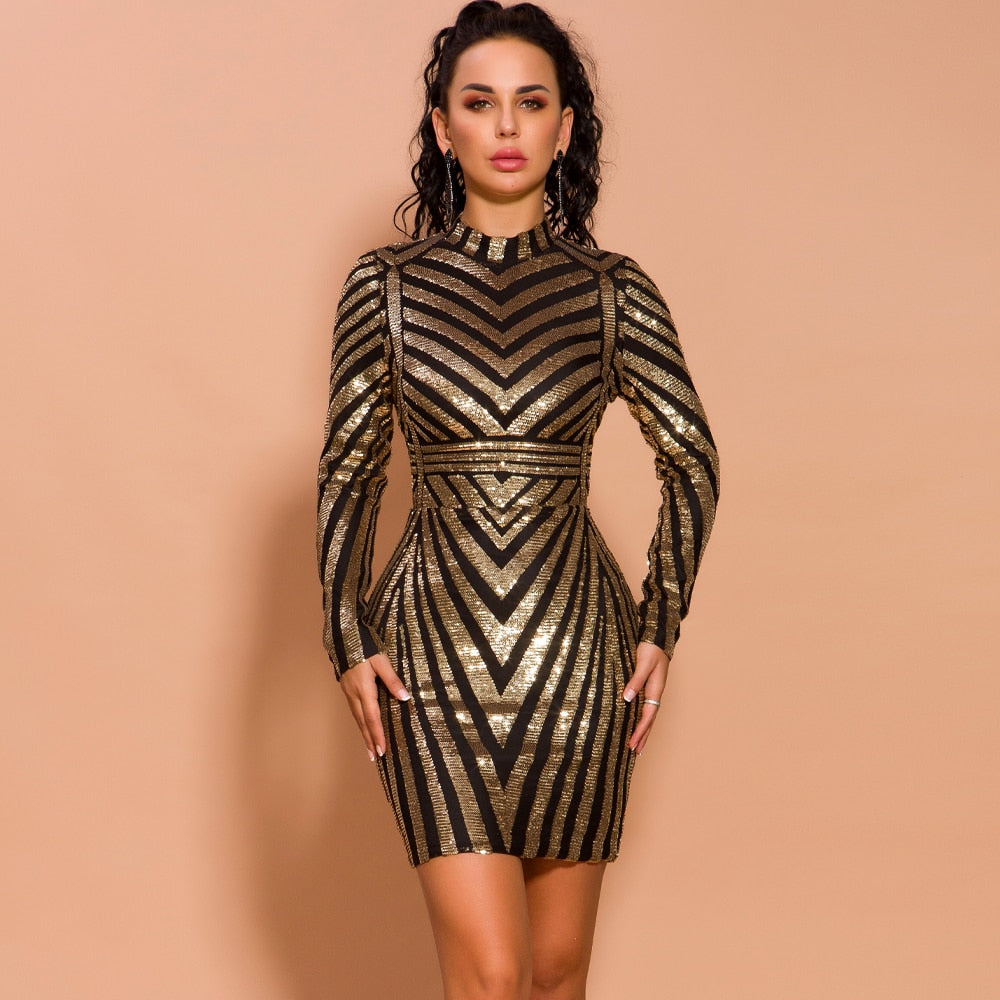 Stripe Bodycon Sequin Dress - SHOPPLEHUB
