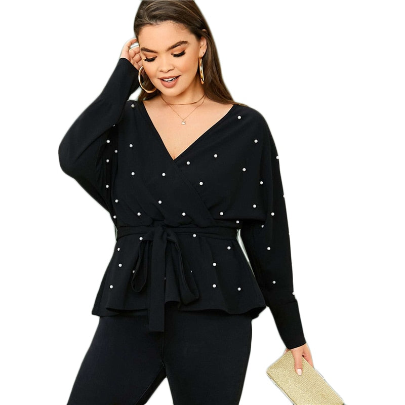 Pearl Beaded Belted Top (Plus) - SHOPPLEHUB