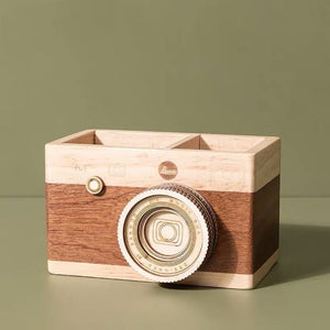 Vintage Wooden Camera Desk Organizer - SHOPPLEHUB