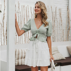 Chiffon Lace Up Ruffle Top