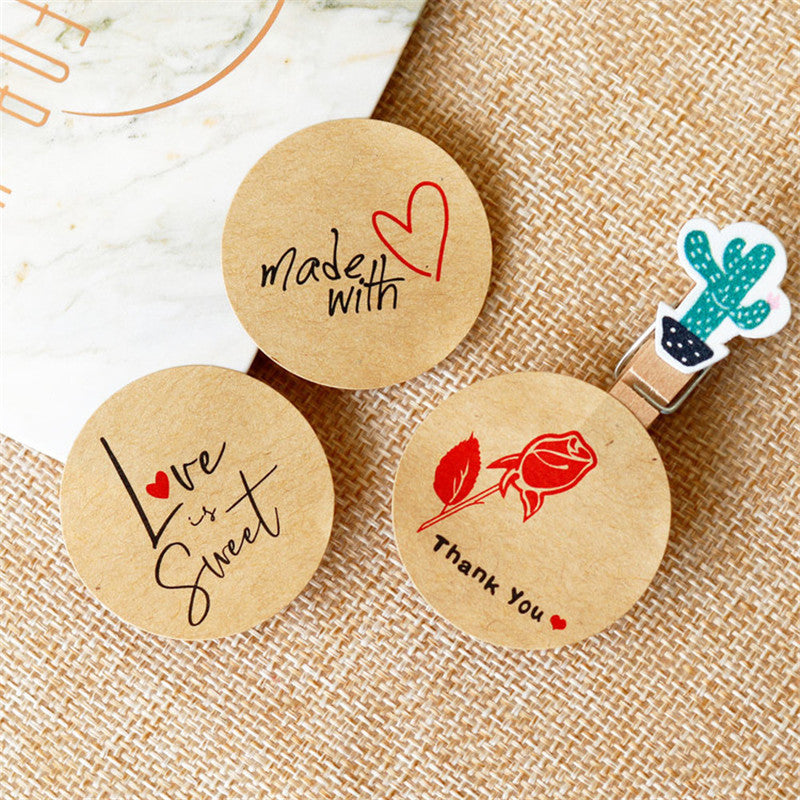 Handmade Kraft Paper Packaging Stickers (108pcs) - SHOPPLEHUB