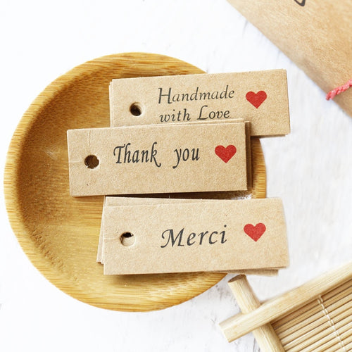 Classic Handmade Kraft Paper Tags (100pcs) - SHOPPLEHUB