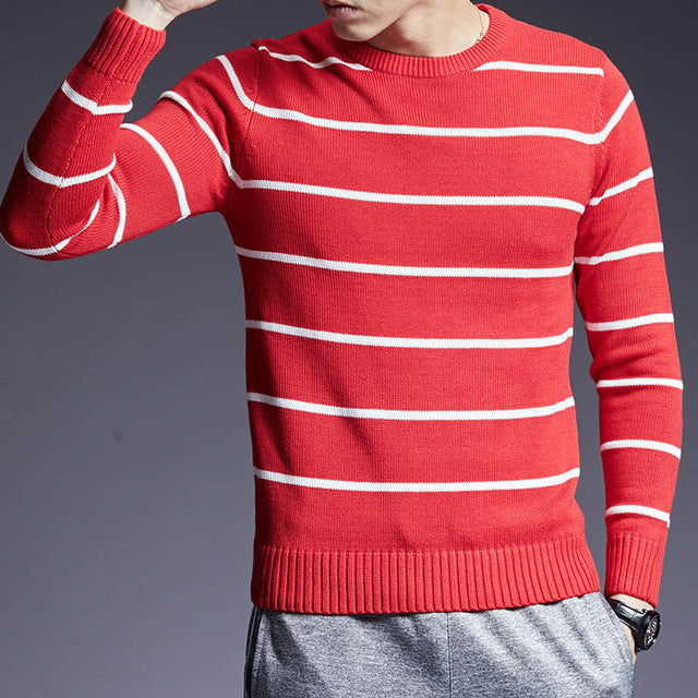 Slim Fit Striped Jumper - SHOPPLEHUB