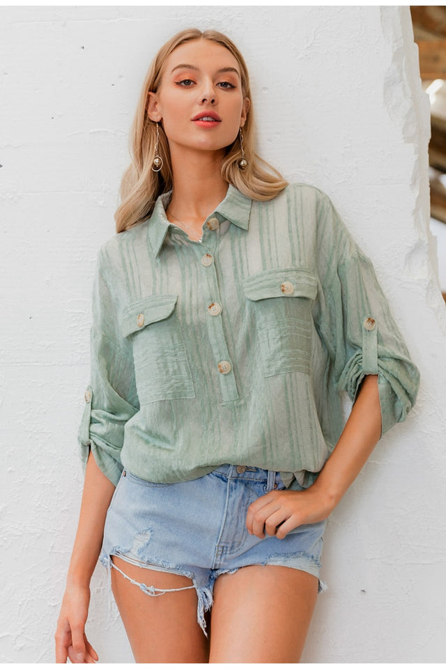 Casual Turn-Down Collar Holiday Blouse