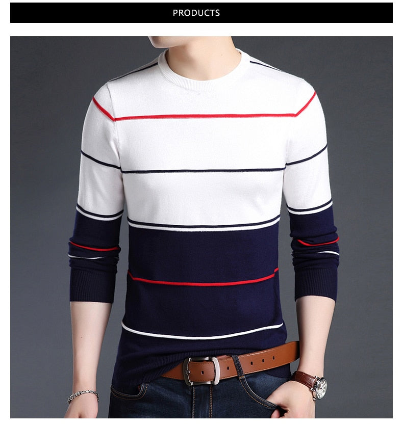 Striped Slim Fit Jumper - SHOPPLEHUB